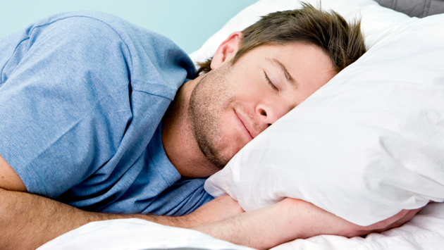 Man sleeping on pillow