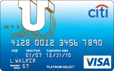 Citi mtvU Platinum Select Visa Card for College Students