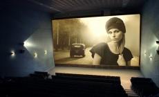 Vintage movie on cinema screen