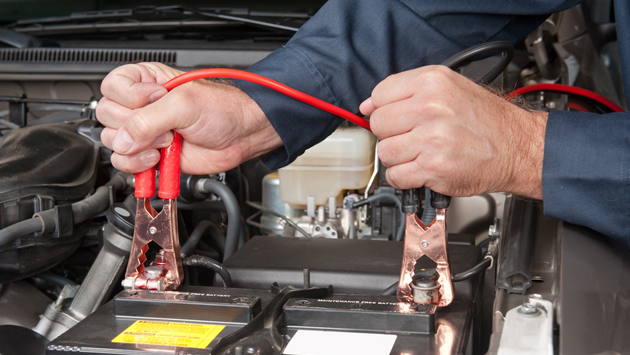 Jumper cables charging battery
