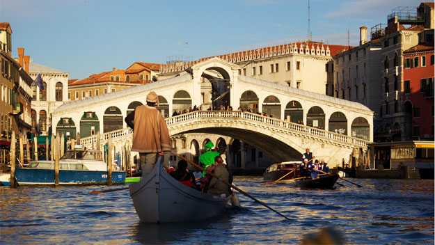 Gondola ride under Rialto Bridge