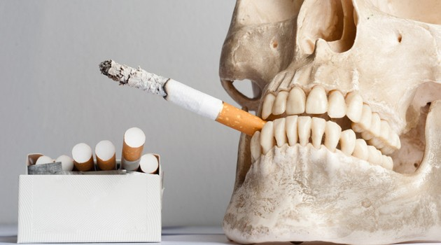 Human skull with cigarettes