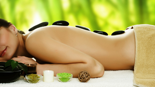 Woman lying down at spa