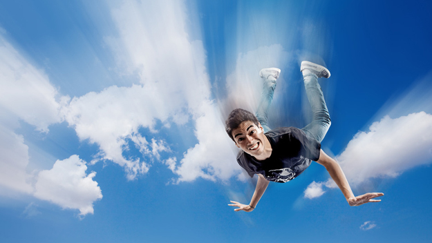 Guy falling from sky