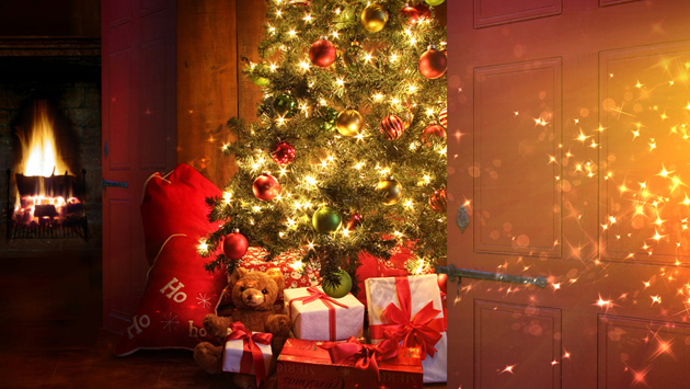 Christmas tree with fireplace in background