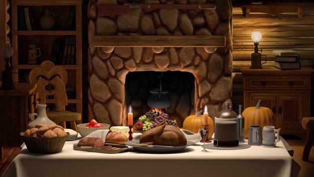 Thanksgiving cabin dinner