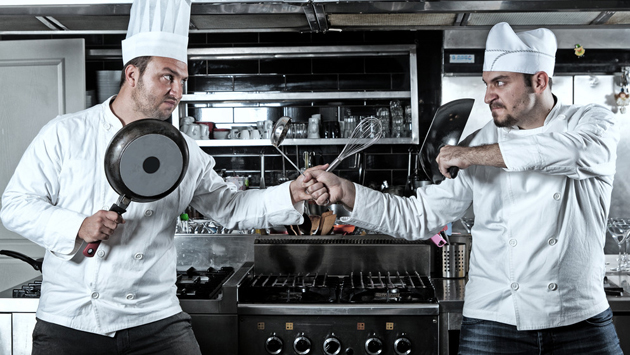 Two chefs fighting