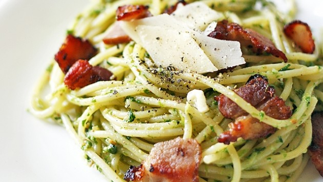 10 - Spaghetti with Ramp Pesto and Bacon
