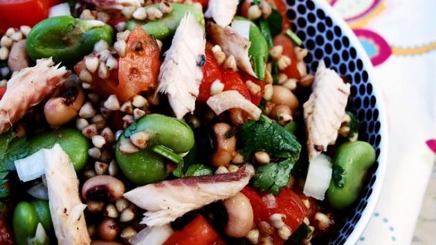 9 - Kasha, Black-Eyed Pea, Mackerel, Fava Salad