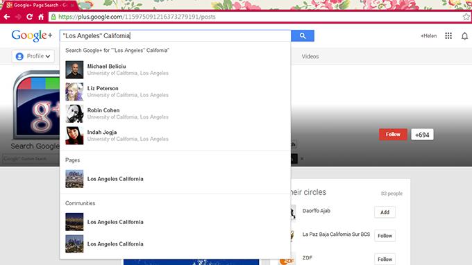 Google+ Search Calofornia LA