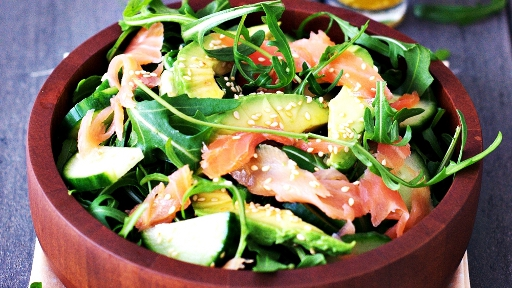 3 - Smoked Salmon, Avocado, and Arugula Salad2
