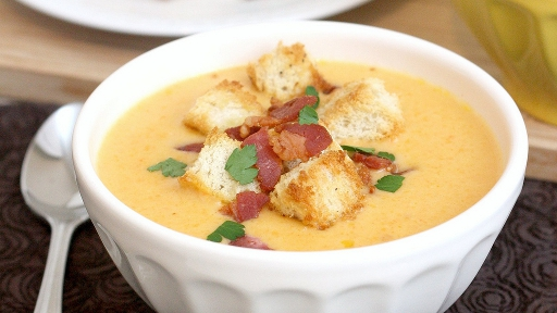 8 - Cheddar Ale Soup with Homemade Croutons