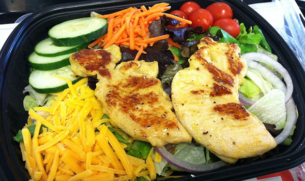 8. Grilled Chicken Strips and Side Salad