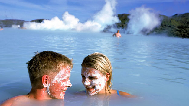 Couple bathing in the Blue Lagoon Geothermal Spa