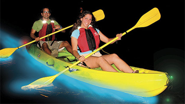 Kayaking in bioluminescent bay