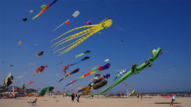 Kite flying in Cervia, Italy