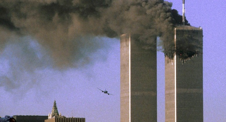 "ATTENTION EDITORS - THIS FILE PICTURE IS ONE OF 83 TO ACCOMPANY THE TENTH ANNIVERSARY OF THE SEPTEMBER 11 ATTACKS. SEARCH FOR KEYWORD ""9/11"" TO SEE ALL THE IMAGES (PXP901-PXP983) United Airlines Flight 175 is seen moments before slamming into the south tower of the World Trade Center in New York in this September 11, 2001 file photo. September 11th marks the 10th anniversary of the 9/11 attacks where nearly 3,000 people died when four hijacked airliners were used in coordinated strikes on the Pentagon and the World Trade Center towers. The fourth plane crashed in Pennsylvania. REUTERS/Sean Adair/Files (UNITED STATES - Tags: CRIME DISASTER ANNIVERSARY)"